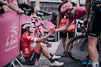Kiel Reijnen (USA/Trek-Segafredo) needed to dig extremely deep to finish the stage and had to ride the last 40km alone to the finish (to finish last). A feat that earned the respect of other riders after he succeeded getting there.<br /> <br /> Stage 6: Frontenex > La Rosière Espace San Bernardo (110km)<br /> 70th Critérium du Dauphiné 2018 (2.UWT)