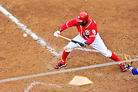 24 April 2010: Washington Nationals' outfielder Nyjer Morgan holds back a bunt against the Los Angeles Dodgers at Nationals Park in Washington, DC. The Dodgers edged out the Nationals 4-3 in a thirteen inning game. Mandatory Credit: Ed Wolfstein Photo