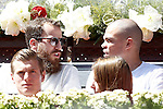 Real Madrid Basketball player Sergio Rodriguez (t-l) and Real Madrid Football players Pepe (t-r) and Toni Kroos with his wife during Madrid Open Tennis 2015 match.May, 7, 2015.(ALTERPHOTOS/Acero)