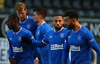30th December 2020; St Mirren Park, Paisley, Renfrewshire, Scotland; Scottish Premiership Football, St Mirren versus Rangers; Kemar Roofe of Rangers celebrates after he makes it 1-0 to Rangers in the 26th minute
