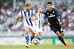 Real Sociedad's Inigo Martinez (l) and Real Madrid's Alvaro Morata during La Liga match. August 21,2016. (ALTERPHOTOS/Acero)