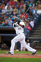 Akron RubberDucks outfielder Destin Hood (20) at bat during a game against the New Britain Rock Cats on May 21, 2015 at Canal Park in Akron, Ohio.  Akron defeated New Britain 4-2.  (Mike Janes/Four Seam Images)