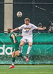5 September 2014: La Salle University Explorers Defender Colman Kennedy, a Junior from Tipperary, Ireland, in action against the University of Vermont Catamounts at Virtue Field in Burlington, Vermont. The Catamounts, playing a man down for 66 minutes, defeated the visiting Explorers 2-1 on the first day of the Morgan Stanley Windjammer Classic Men's Soccer Tournament. Mandatory Credit: Ed Wolfstein Photo *** RAW (NEF) Image File Available ***