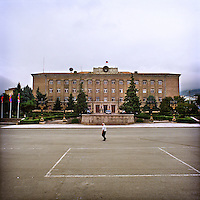 The presidential building is situated in Stepanakert near the fountain place.