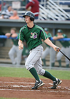 Matt Dominguez of the Jamestown Jammers, Class-A affiliate of the Florida Marlins, during New York-Penn League baseball action.  Photo by Mike Janes/Four Seam Images