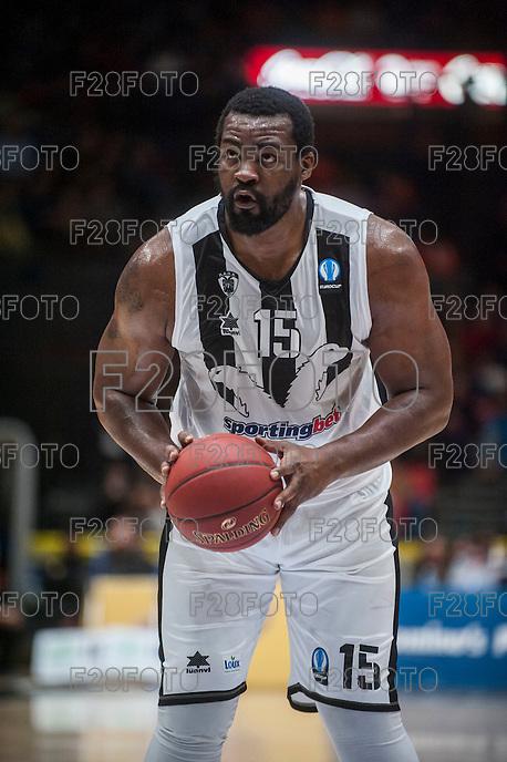 VALENCIA, SPAIN - JANUARY 6: Sofoklis Schortsanitis during EUROCUP match between Valencia Basket and PAOK Thessaloniki at Fonteta Stadium on January 6, 2015 in Valencia, Spain