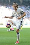 Real Madrid's Luka Modric during La Liga match between Real Madrid and Atletico de Madrid at Santiago Bernabeu Stadium in Madrid, April 08, 2017. Spain.<br /> (ALTERPHOTOS/BorjaB.Hojas)