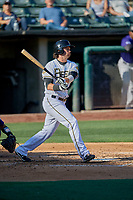 Jarrett Parker (32) of the Salt Lake Bees bats against the Albuquerque Isotopes at Smith's Ballpark on April 27, 2019 in Salt Lake City, Utah. The Isotopes defeated the Bees 10-7. This was a makeup game from April 26, 2019 that was cancelled due to rain. (Stephen Smith/Four Seam Images)