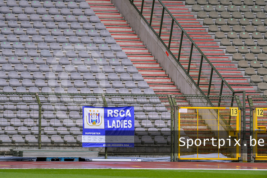 banner RSCA ladies pictured during a female soccer game between RSC Anderlecht Dames and Oud Heverlee Leuven on the seventh matchday of play off 1 of the 2020 - 2021 season of Belgian Womens Super League , saturday 15 th of May 2021  in Brussels , Belgium . PHOTO SPORTPIX.BE | SPP | STIJN AUDOOREN
