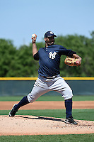 Pitcher Joel De La Cruz (50) of the New York Yankees organization during a minor league spring training game against the Pittsburgh Pirates on March 22, 2014 at Pirate City in Bradenton, Florida.  (Mike Janes/Four Seam Images)