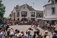 breakaway group rolling through the town of St-Lyphard: Guillaume Van Keirsbulck (BEL/Wanty-Groupe Gobert), Dimitri Claeys (BEL/Cofidis), Jérôme Cousin (FRA/Direct Energie) & Anthony Perez (FRA/Cofidis)<br /> <br /> Stage 4: La Baule > Sarzeau (192km)<br /> <br /> 105th Tour de France 2018<br /> ©kramon