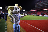RALEIGH, NC - NOVEMBER 30: Mascot Rameses of the University of North Carolina shrugs at some North Carolina State University fans during a game between North Carolina and North Carolina State at Carter-Finley Stadium on November 30, 2019 in Raleigh, North Carolina.