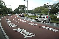 Eine Hauptstrasse in Tokio, japanese signs, Schrift, Strasse, Street, Way, Freeway, Auto, Car, Van , LKW, Park, Verkehr,Traffic, Stadtverkehr, Umwelt, CO2. (photo.:Stefan Noebel-Heise)
