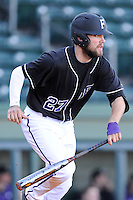 Second baseman Jordan Simpson (27) of the Furman University Paladins in a game against the Toledo Rockets on Sunday, February 16, 2013, at Fluor Field at the West End in Greenville, South Carolina. The game was part of the First Pitch Invitational. (Tom Priddy/Four Seam Images)
