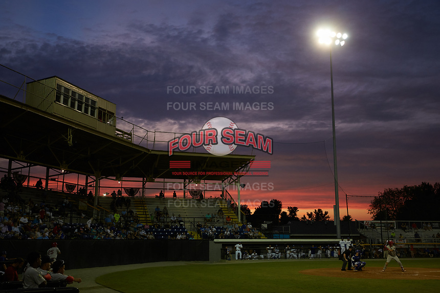 The sun sets behind Burlington Athletic Stadium during Game Three of the 2019 Appalachian League Championship series on September 4, 2019 in Burlington, North Carolina. The Cardinals defeated the Royals 8-6 to win the 2019 Appalachian League Championship. (Brian Westerholt/Four Seam Images)