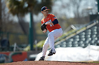 Illinois Fighting Illini relief pitcher AidanMaldonado (41) in action against the West Virginia Mountaineers at TicketReturn.com Field at Pelicans Ballpark on February 23, 2020 in Myrtle Beach, South Carolina. The Fighting Illini defeated the Mountaineers 2-1.  (Brian Westerholt/Four Seam Images)