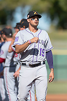 Salt River Rafters third baseman Josh Fuentes (19), of the Colorado Rockies organization, during player introductions before the Arizona Fall League Championship game against the Peoria Javelinas at Scottsdale Stadium on November 17, 2018 in Scottsdale, Arizona. Peoria defeated Salt River 3-2 in extra innings. (Zachary Lucy/Four Seam Images)