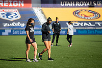 HERRIMAN, UT - JULY 4: Utah Royals FC and Sky Blue FC players examine the field during a game between Sky Blue FC and Utah Royals FC at Zions Bank Stadium on July 4, 2020 in Herriman, Utah.