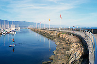 Santa Barbara, California, USA - Breakwater protecting Boats and Marina in Santa Barbara Harbor