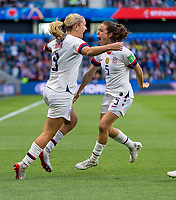 LE HAVRE,  - JUNE 20: Lindsey Horan #9 celebrates her goal with Kelley O'Hara #5 during a game between Sweden and USWNT at Stade Oceane on June 20, 2019 in Le Havre, France.