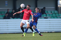 Aaron Wildig of Morecambe and Sam Coombes of Maldon during Maldon & Tiptree vs Morecambe, Emirates FA Cup Football at the Wallace Binder Ground on 8th November 2020