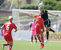 FC Gold Pride's Rachel Buehler (4) heads the ball in front of Washington Freedom's Abby Wambach (20). Washington Freedom 4-3 over FC Gold Pride in Santa Clara, California, April 26, 2009.