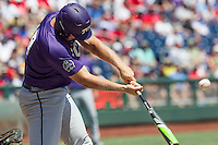TCU Horned Frogs designated hitter Luken Baker (19) swings the bat against the Texas Tech Red Raiders in Game 3 of the NCAA College World Series on June 19, 2016 at TD Ameritrade Park in Omaha, Nebraska. TCU defeated Texas Tech 5-3. (Andrew Woolley/Four Seam Images)