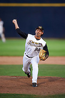 Quad Cities River Bandits relief pitcher Ralph Garza (22) during a game against the Bowling Green Hot Rods on July 24, 2016 at Modern Woodmen Park in Davenport, Iowa.  Quad Cities defeated Bowling Green 6-5.  (Mike Janes/Four Seam Images)