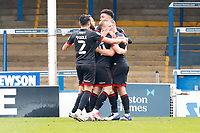 1st May 2021; Weston Homes Stadium, Peterborough, Cambridgeshire, England; English Football League One Football, Peterborough United versus Lincoln City; Lincoln City players celebrate Anthony Scully's opening goal after 31 minutes (0-1)