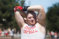 STANFORD,CA-- August 24, 2013: Trent Murphy during the open practice at the Dan Elliott Practice Field Saturday.<br /> <br /> It was part the Stanford Football 2013 Open House.