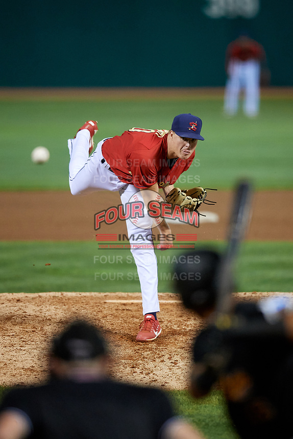 State College Spikes relief pitcher Michael Baird (40) delivers a pitch during a game against the West Virginia Black Bears on August 30, 2018 at Medlar Field at Lubrano Park in State College, Pennsylvania.  West Virginia defeated State College 5-3.  (Mike Janes/Four Seam Images)
