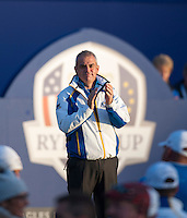 26.09.2014. Gleneagles, Auchterarder, Perthshire, Scotland.  The Ryder Cup, Day 1.  Paul McGinley European Team Captain on the first tee at Friday Fourballs.