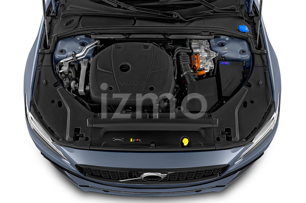 Car Stock 2021 Volvo V90-Recharge R-Design 5 Door Wagon Engine  high angle detail view