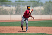 Arizona Diamondbacks third baseman Eddie Hernandez (14) makes a throw to first base during an Extended Spring Training game against the Cleveland Indians at the Cleveland Indians Training Complex on May 27, 2018 in Goodyear, Arizona. (Zachary Lucy/Four Seam Images)