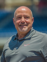 8 June 2013: Washington Nationals General Manager Mike Rizzo watches batting practice prior to a game against the Minnesota Twins at Nationals Park in Washington, DC. The Twins edged out the Nationals 4-3 in 11 innings. Mandatory Credit: Ed Wolfstein Photo *** RAW (NEF) Image File Available ***