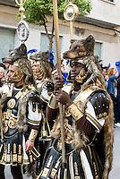 Römische Legionäre der Bruderschaft Paso Azul  bei  der Semana Santa (Karwoche) in Lorca,  Provinz Murcia, Spanien, Europa
