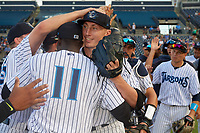 Tampa Tarpons pitcher Trevor Stephan (35) celebrates with teammates, including Estevan Florial (11), after closing out a Florida State League game against the Jupiter Hammerheads on July 26, 2019 at George M. Steinbrenner Field in Tampa, Florida.  Stephan struck out 9 batters over 7 innings for a no-hitter in the first game of a doubleheader.  Tampa defeated Jupiter 2-0.  (Mike Janes/Four Seam Images)