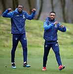 07.03.2019 Rangers training: Jermain Defoe and Glen Kamara