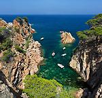 Spanien, Katalonien, Costa Brava, bei Palafrugell: einsame Bucht bei Aiguaxelida | Spain, Catalunya, Costa Brava, near Palafrugell: Secluded cove at Aiguaxelida