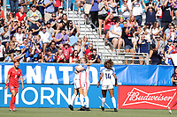 Cary, NC - Sunday October 22, 2017: Samantha Mewis celebrates her first goal during an International friendly match between the Women's National teams of the United States (USA) and South Korea (KOR) at Sahlen's Stadium at WakeMed Soccer Park.