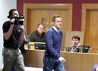 Thursday 06 February 2014<br /> Pictured: Head coach Garry Monk arriving<br /> Re: The first Swansea City FC press conference with Garry Monk as head coach after the departure of manager Michael Laudrup, at the Liberty Stadium, south Wales.