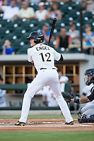 Adam Engel (12) of the Charlotte Knights at bat against the Scranton/Wilkes-Barre RailRiders at BB&T BallPark on July 20, 2016 in Charlotte, North Carolina.  The RailRiders defeated the Knights 14-2.  (Brian Westerholt/Four Seam Images)