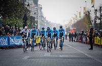 World Champion Alejandro Valverde (ESP/Movistar) & team is warmly greeted on his debute participation in De Ronde<br /> <br /> 103rd Ronde van Vlaanderen 2019<br /> One day race from Antwerp to Oudenaarde (BEL/270km)<br /> <br /> ©kramon