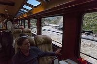 Peru, Machu Picchu.  Urubamba River as seen from Executive Class Inca Rail Train en route to Ollantaytambo from Machu Picchu.