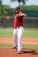 St. Louis Cardinals pitcher John Lackey (41) during a minor league spring training game against the New York Mets on April 1, 2015 at the Roger Dean Complex in Jupiter, Florida.  (Mike Janes/Four Seam Images)