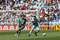 ST. PAUL, MN - AUGUST 21: Adrien Hunou #23 of Minnesota United FC and Remi Walter #54 of Sporting Kansas City battle for the ball during a game between Sporting Kansas City and Minnesota United FC at Allianz Field on August 21, 2021 in St. Paul, Minnesota.