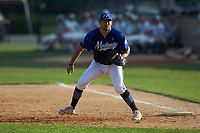 Martinsville Mustangs first baseman Steven D'Eusanio (16) (Youngstown State) on defense against the High Point-Thomasville HiToms at Finch Field on July 26, 2020 in Thomasville, NC.  The HiToms defeated the Mustangs 8-5. (Brian Westerholt/Four Seam Images)