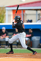 Luis Ramirez #11 of the Bluefield Orioles follows through on his swing versus the Burlington Royals at Burlington Athletic Park June 30, 2009 in Burlington, North Carolina. (Photo by Brian Westerholt / Four Seam Images)