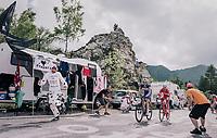 race leaders Maximilian Schachmann (DEU/Quick-Step Floors) & Mattia Cattaneo (ITA/Androni-Sidermec-Bottecchia) up the final climb to Pratonevoso<br /> <br /> stage 18: Abbiategrasso - Pratonevoso (196km)<br /> 101th Giro d'Italia 2018