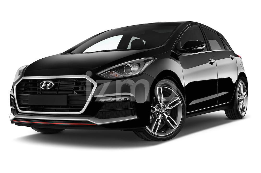 Stock pictures of low aggressive front three quarter view of 2015 Hyundai I30 Turbo 5 Door Hatchback